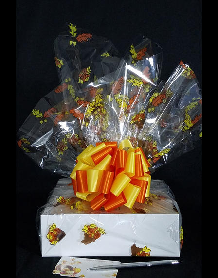 Medium Box - Fall Leaves Cellophane - Orange & Yellow Bow - 18 Cookies and Brownies