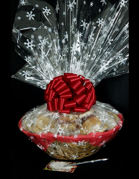 Super Basket - Snowflake Cellophane - Red Bow - 60 Cookies and Brownies