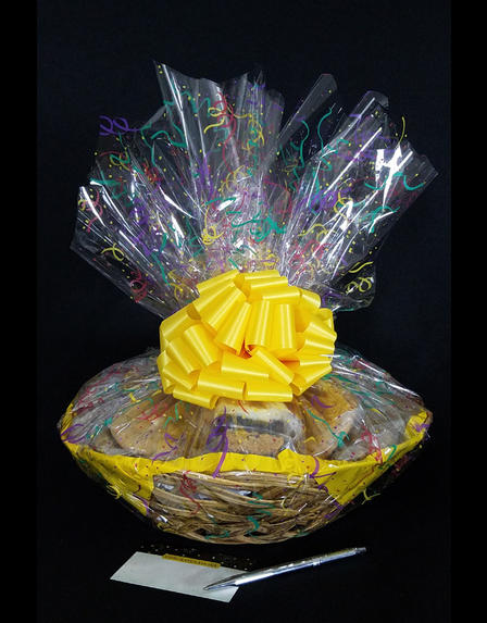 Large Basket - Confetti Cellophane - Yellow Bow - 36 Cookies and Brownies