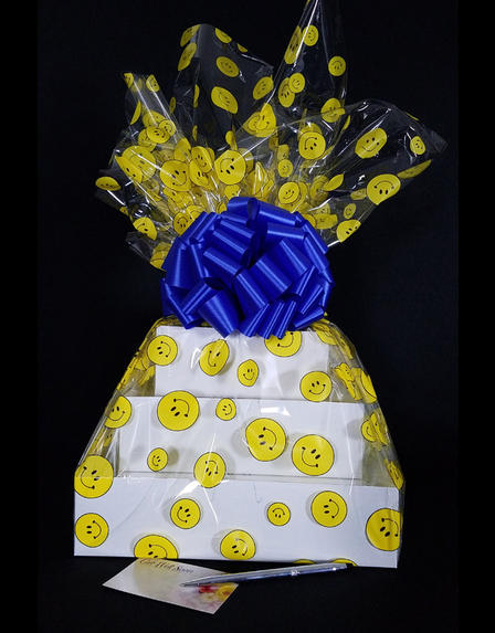 Super Tower - Smiley Cellophane - Blue Bow - 72 Cookies and Brownies