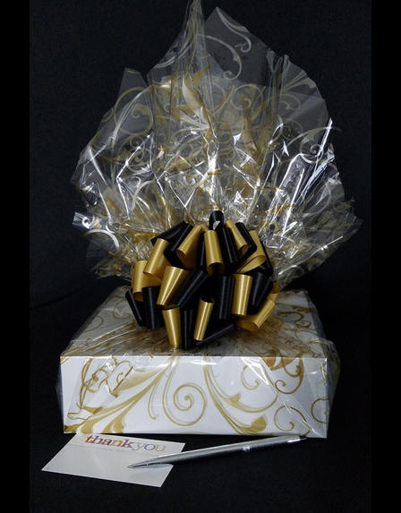 Medium Box - Gold Swirl Cellophane - Black & Gold Bow - 18 Cookies and Brownies