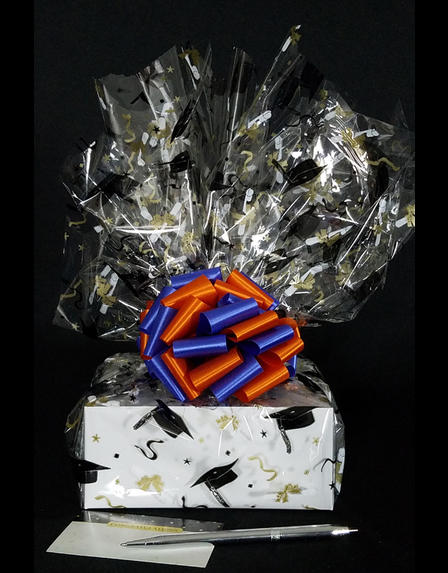 Small Box - Graduation Cap Cellophane - Blue & Orange Bow - 12 Cookies and Brownies