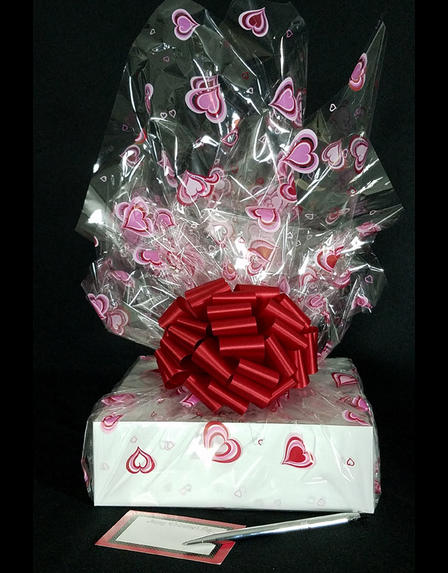Medium Box - Heart Cellophane - Red Bow - 18 Cookies and Brownies