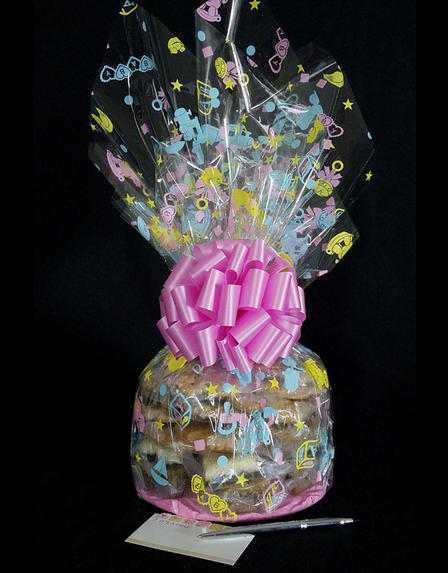 Large Cellophane - Baby Cellophane - Baby Pink Bow - 30 Cookies and Brownies