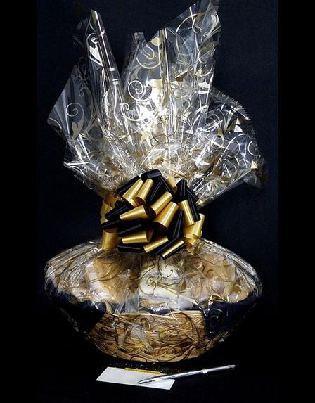 Large Basket - Black & Gold Confetti Cellophane - Black & Gold Bow - 36 Cookies and Brownies