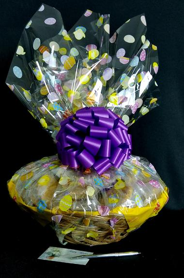 Super Basket - Easter Egg Cellophane - Purple Bow - 60 Cookies and Brownies