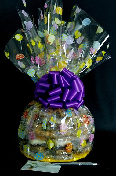 Super Cellophane - Easter Egg Cellophane - Purple Bow - 42 Cookies and Brownies