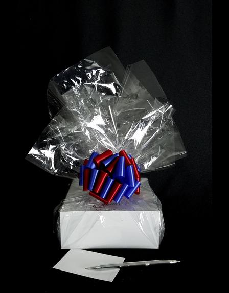 Small Box - Clear Cellophane - Red & Blue Bow - 12 Cookies and Brownies