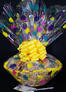 Large Basket - Balloon Cellophane - Yellow Bow - 36 Cookies and Brownies