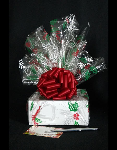 Small Box - Holly & Berries Cellophane - Red Bow - 12 Cookies and Brownies