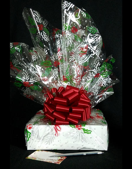 Medium Box - Holly & Berries Cellophane - Red Bow - 18 Cookies and Brownies