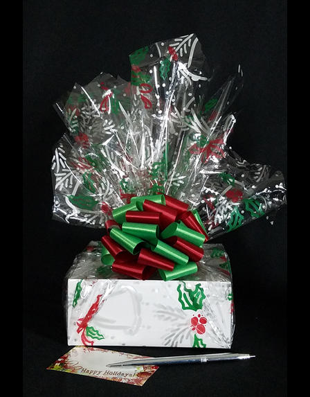 Small Box - Holly & Berries Cellophane - Red & Green Bow - 12 Cookies and Brownies