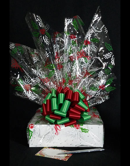 Medium Box - Holly & Berries Cellophane - Red & Green Bow - 18 Cookies and Brownies