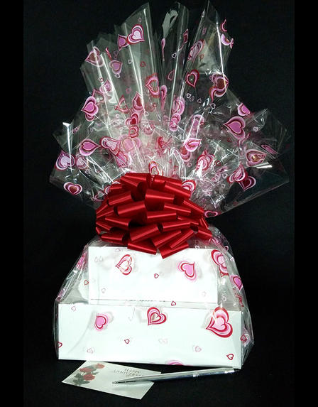 Large Tower - Heart Cellophane - Red Bow - 36 Cookies and Brownies