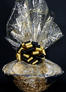 Super Basket - Gold Swirl Cellophane - Black & Gold Bow - 60 Cookies and Brownies