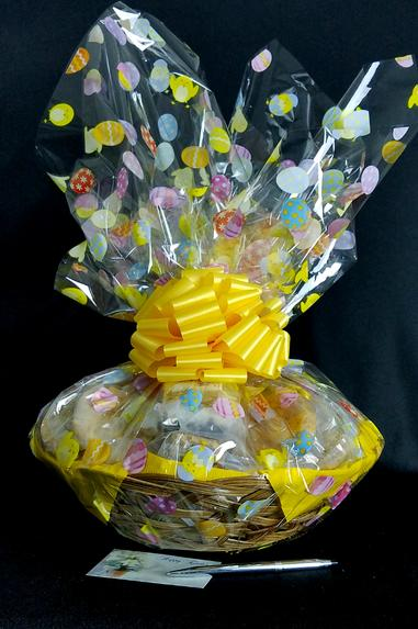 Large Basket - Easter Egg Cellophane - Yellow Bow  - 36 Cookies and Brownies