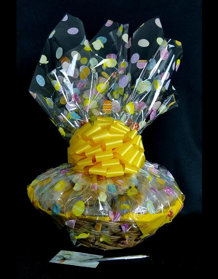 Super Basket - Easter Egg Cellophane - Yellow Bow - 60 Cookies and Brownies