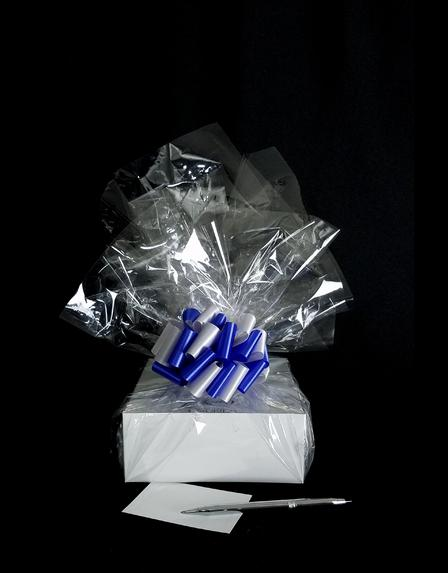 Small Box - Clear Cellophane - Blue & Silver Bow - 12 Cookies and Brownies