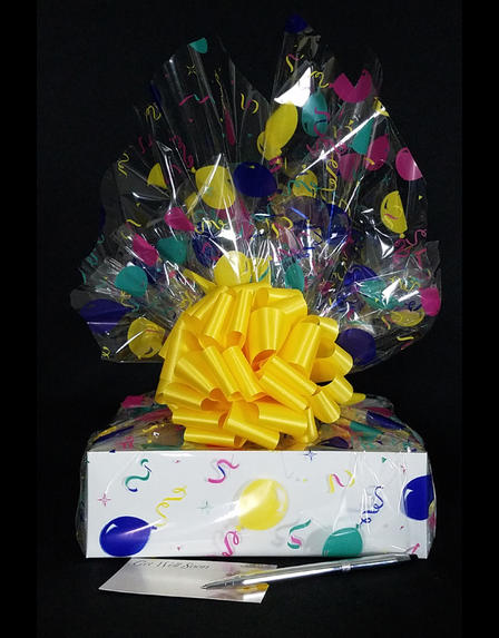Medium Box - Balloon Cellophane - Yellow Bow - 18 Cookies and Brownies