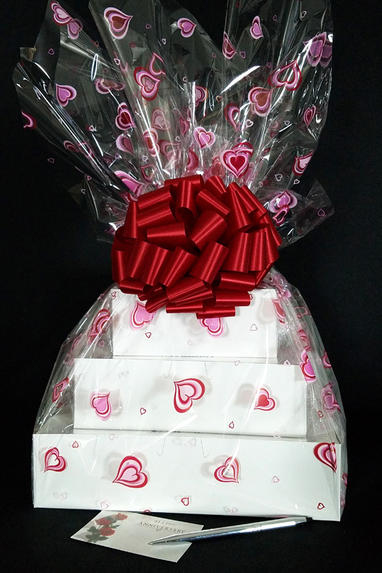 Super Tower - Heart Cellophane - Red Bow - 72 Cookies and Brownies