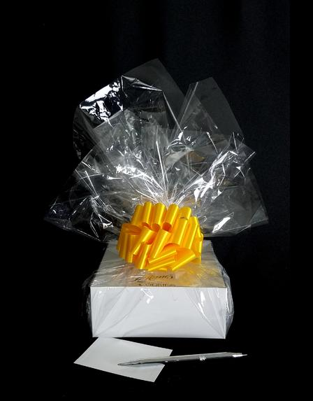 Small Box - Clear Cellophane - Yellow Bow - 12 Cookies and Brownies