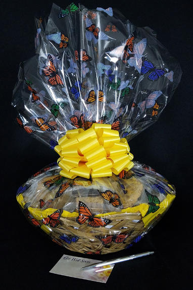 Large Basket - Butterfly Cellophane - Yellow Bow - 36 Cookies and Brownies
