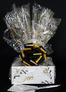 Small Box - Black & Gold Confetti Cellophane - Black & Gold Bow - 12 Cookies and Brownies