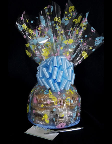 Large Cellophane - Baby Cellophane - Baby Blue Bow - 30 Cookies and Brownies