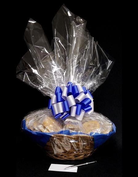 Super Basket - Clear Cellophane - Blue & Silver Bow - 60 Cookies and Brownies