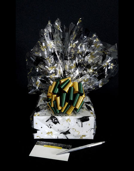 Small Box - Graduation Cap Cellophane - Green & Gold Bow - 12 Cookies and Brownies