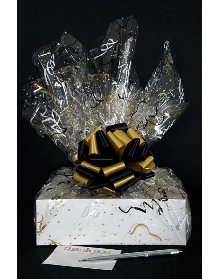 Medium Box - Black & Gold Confetti Cellophane - Black & Gold Bow - 18 Cookies and Brownies