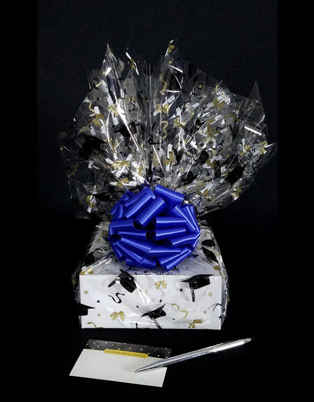 Small Box - Graduation Cap Cellophane - Blue Bow - 12 Cookies and Brownies