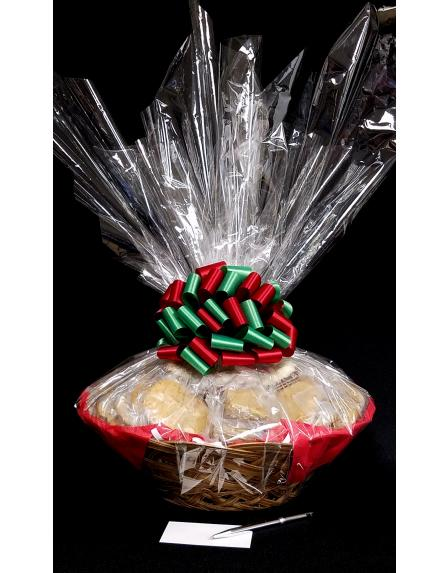 Super Basket - Clear Cellophane - Red & Green Bow - 60 Cookies and Brownies